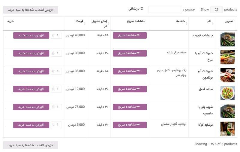 چگونه با افزونه جدول محصولات، منوی غذا یا فهرست محصولات را نمایش دهیم 2