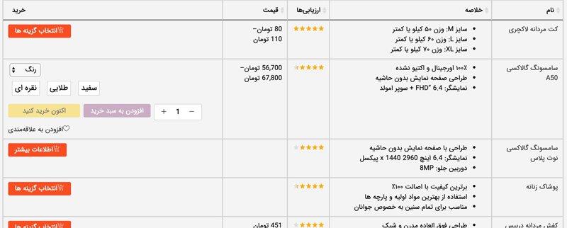 چگونه با افزونه جدول محصولات، منوی غذا یا فهرست محصولات را نمایش دهیم 4